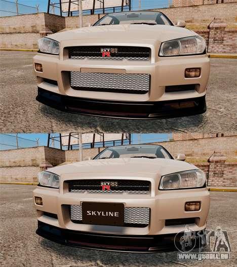 Nissan Skyline GT-R R34 V-Spec II pour GTA 4 est une vue de dessous