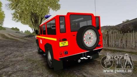 Land Rover Defender VLHR SDIS 42 [ELS] pour GTA 4 Vue arrière de la gauche