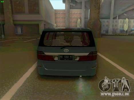 Toyota Alphard für GTA San Andreas zurück linke Ansicht