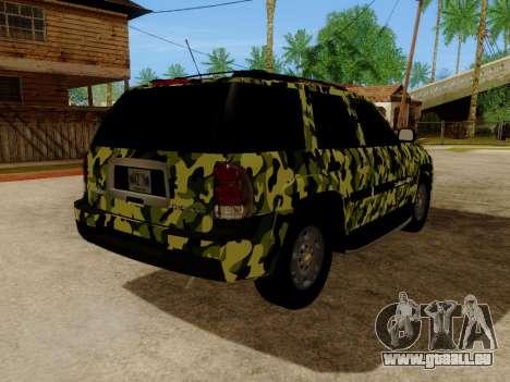 Chevrolet TrailBlazer Army pour GTA San Andreas vue arrière