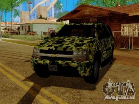 Chevrolet TrailBlazer Army pour GTA San Andreas vue de côté