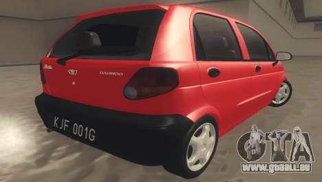 Daewoo Matiz I SE 1998 für GTA San Andreas zurück linke Ansicht