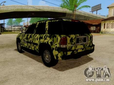 Chevrolet TrailBlazer Army pour GTA San Andreas sur la vue arrière gauche