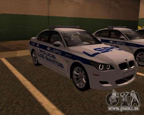 BMW M5 E60 Police LS pour GTA San Andreas vue de droite