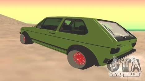 Volkswagen Golf Mk1 Low pour GTA San Andreas sur la vue arrière gauche