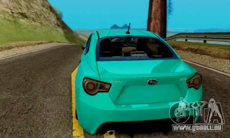 Subaru BRZ pour GTA San Andreas vue intérieure