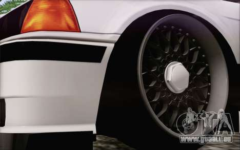 BMW M3 E36 Hellaflush pour GTA San Andreas sur la vue arrière gauche