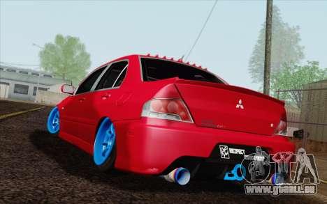 Mitsubishi Lancer MR Edition pour GTA San Andreas laissé vue