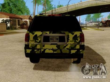 Chevrolet TrailBlazer Army pour GTA San Andreas vue de droite