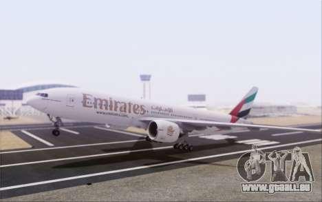 Emirates Airlines 777-200 für GTA San Andreas zurück linke Ansicht