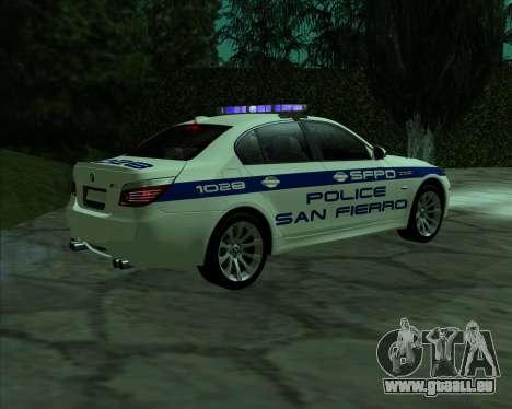 BMW M5 E60 Police SF pour GTA San Andreas laissé vue