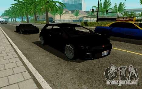 Dinka Blista GTA V pour GTA San Andreas sur la vue arrière gauche