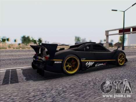 Pagani Zonda R 2009 pour GTA San Andreas sur la vue arrière gauche