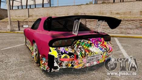 Mazda RX-7 D1 Sticker Bomb pour GTA 4 Vue arrière de la gauche