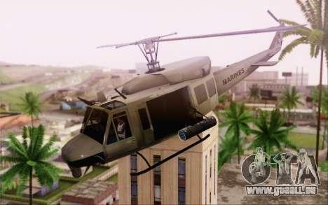 Bell UH-1N Twin Huey pour GTA San Andreas sur la vue arrière gauche