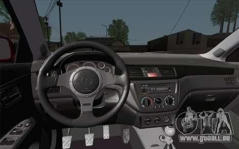 Mitsubishi Lancer MR Edition für GTA San Andreas Rückansicht