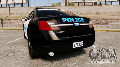Ford Taurus Police Interceptor 2013 [ELS] pour GTA 4 Vue arrière de la gauche