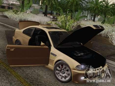 BMW M3 E46 2005 pour GTA San Andreas vue de dessus