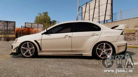 Mitsubishi Lancer Evolution X FQ400 (Cor Rims) für GTA 4 linke Ansicht