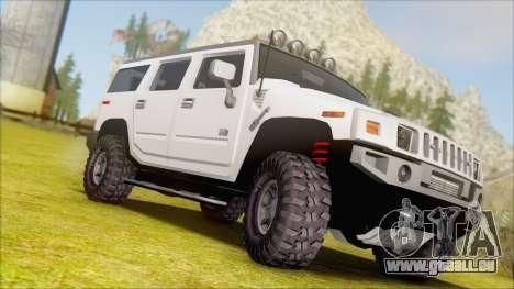Hummer H2 Tunable pour GTA San Andreas vue arrière