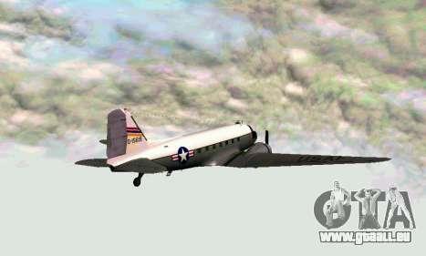 C-47 Dakota de l'USAF pour GTA San Andreas sur la vue arrière gauche