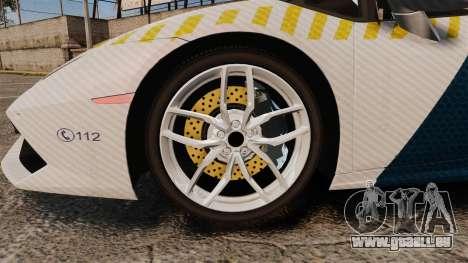 Lamborghini Huracan Hungarian Police [ELS] pour GTA 4 Vue arrière