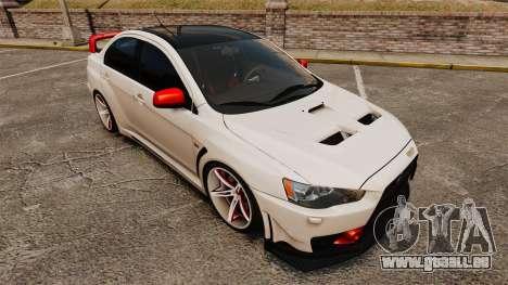 Mitsubishi Lancer Evolution X FQ400 (Cor Rims) pour GTA 4 est une vue de dessous