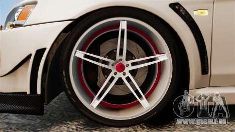 Mitsubishi Lancer Evolution X FQ400 (Cor Rims) pour GTA 4 Vue arrière
