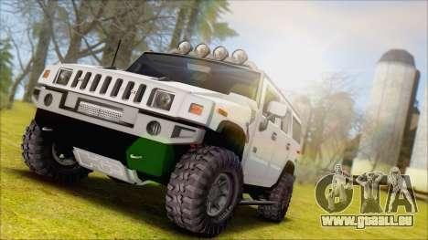 Hummer H2 Tunable pour GTA San Andreas sur la vue arrière gauche