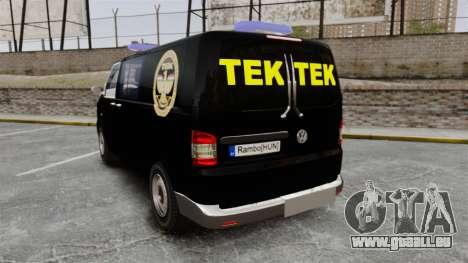 Volkswagen Transporter T5 Hungarian TEK [ELS] für GTA 4 hinten links Ansicht