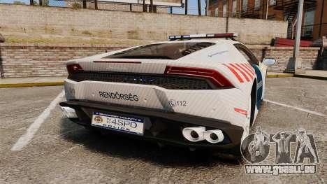 Lamborghini Huracan Hungarian Police [ELS] pour GTA 4 Vue arrière de la gauche