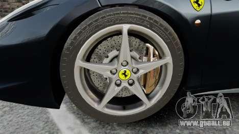 Ferrari 458 Italia für GTA 4 Rückansicht