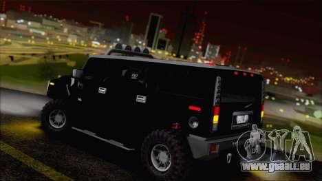 Hummer H2 Tunable pour GTA San Andreas vue de dessous