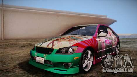 Toyota Altezza Sakura Miku Itasha für GTA San Andreas obere Ansicht