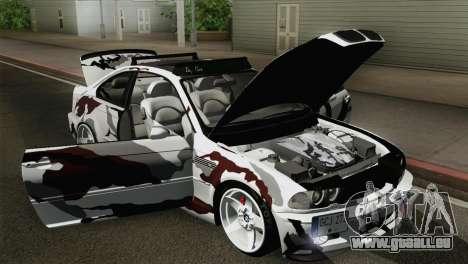 BMW M3 E46 Camo für GTA San Andreas Rückansicht