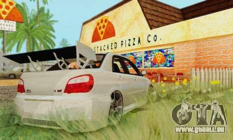 Subaru Impreza WRX Lager für GTA San Andreas zurück linke Ansicht