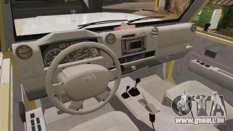 Toyota Land Cruiser 70 2014 pour GTA 4 Vue arrière