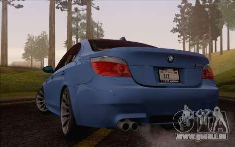 BMW M5 E60 2009 pour GTA San Andreas laissé vue