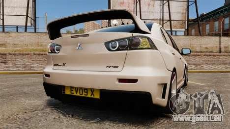 Mitsubishi Lancer Evolution X FQ400 (Cor Rims) pour GTA 4 Vue arrière de la gauche