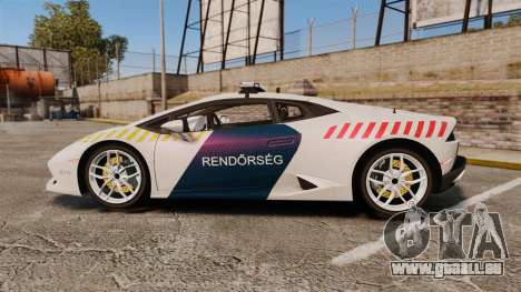 Lamborghini Huracan Hungarian Police [ELS] pour GTA 4 est une gauche