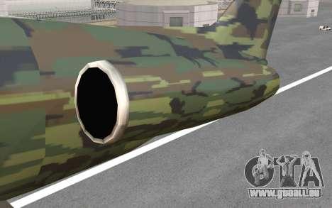 Camouflage Shamal pour GTA San Andreas vue intérieure