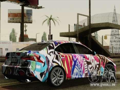 Lexus IS350 FSPORT Stikers Editions 2014 pour GTA San Andreas laissé vue