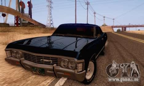 Chevrolet Impala 1967 Supernatural für GTA San Andreas zurück linke Ansicht