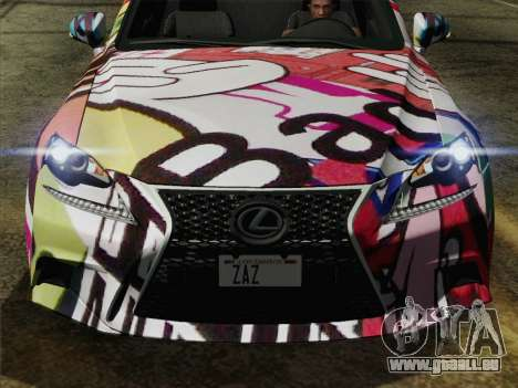 Lexus IS350 FSPORT Stikers Editions 2014 pour GTA San Andreas vue de droite