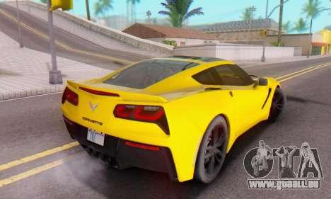 Chevrolet Corvette Stingray C7 2014 pour GTA San Andreas vue de dessus
