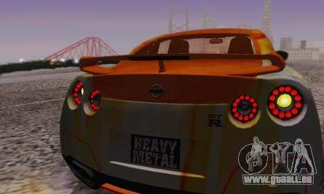 Nissan GTR Heavy Fire für GTA San Andreas Unteransicht