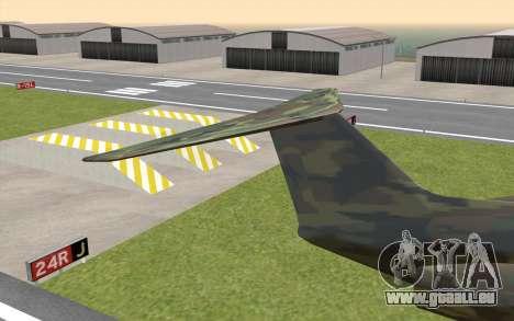 Camouflage Shamal pour GTA San Andreas sur la vue arrière gauche