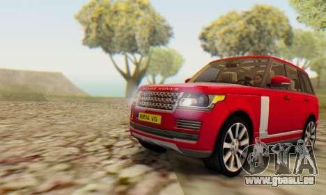 Range Rover Vogue 2014 V1.0 UK Plate pour GTA San Andreas sur la vue arrière gauche