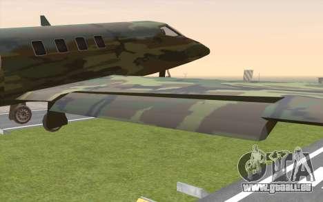 Camouflage Shamal pour GTA San Andreas vue de droite