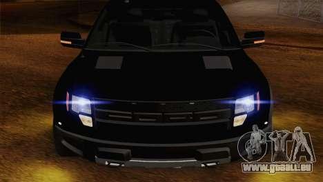 Ford F-150 SVT Raptor 2011 pour GTA San Andreas vue arrière